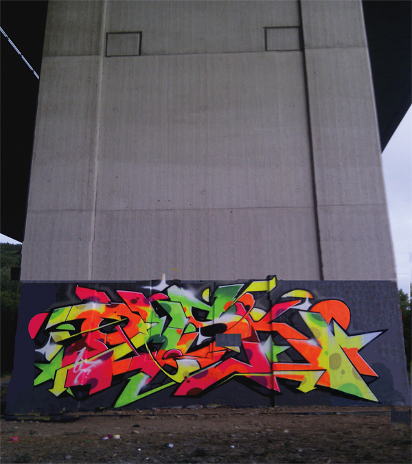 OMSK graffiti with neon spray paint